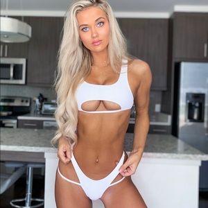 Two piece white bikini